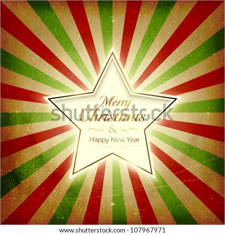 Vintage Christmas background with glowing center star on red, green, beige light burst background. Grunge elements giving it a textured and old feeling. - stock vector