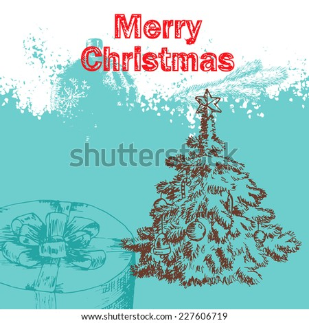 Vintage Christmas background with hand drawn illustration - stock vector