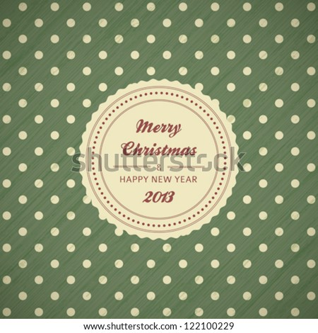 vintage christmas card background with polka dots, vector illustration
