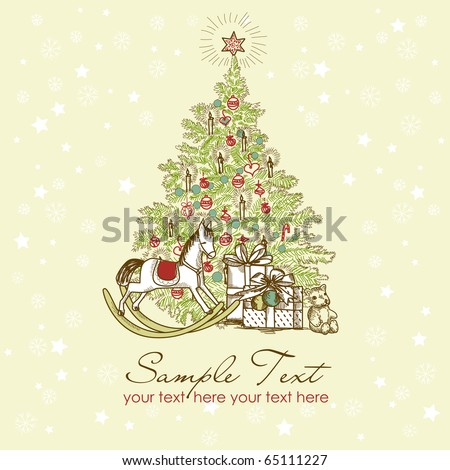 Vintage Christmas Card . Beautiful Christmas tree illustration - stock vector