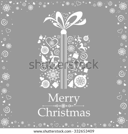 Vintage Christmas card. Celebration Gift box with ribbon. Vector illustration  - stock vector