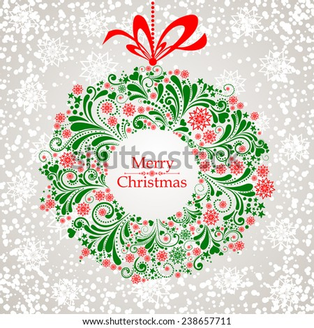 Vintage Christmas card. Celebration grey background with Christmas wreath and place for your text. Vector Illustration  - stock vector
