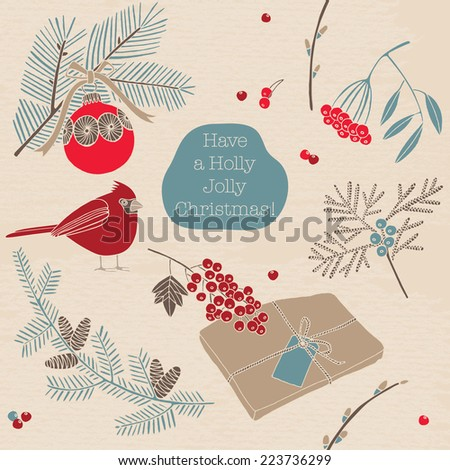 Vintage Christmas card. Christmas decoration with robin bird and berries. Seamless pattern background.