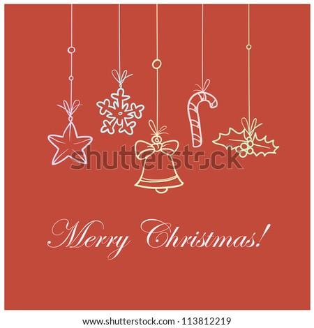 Vintage Christmas card design - stock vector