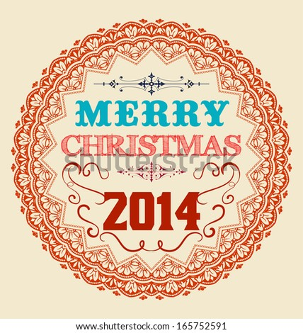 Vintage Christmas Card Design. - stock vector