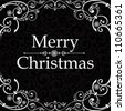 Vintage Christmas Card. Merry Christmas lettering. Vector Illustration - stock vector