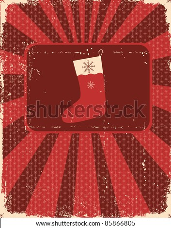 Vintage christmas card on old paper texture with holiday sock for design