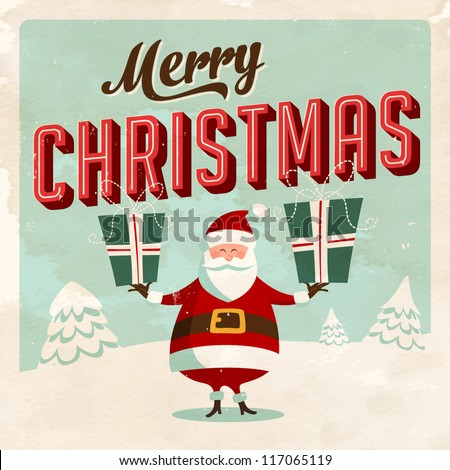 Vintage Christmas Card - Vector EPS10. Grunge effects can be easily removed for a brand new, clean sign - stock vector
