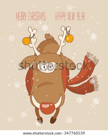 Vintage Christmas Card, vector. Greeting Christmas and New Year card - stock vector