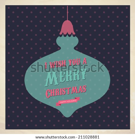 Vintage Christmas Card - Vector illustration - stock vector