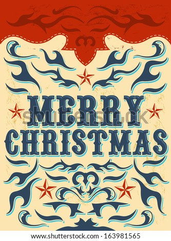 Vintage Christmas Card - western style - Vector. Grunge effects can be easily removed  - stock vector