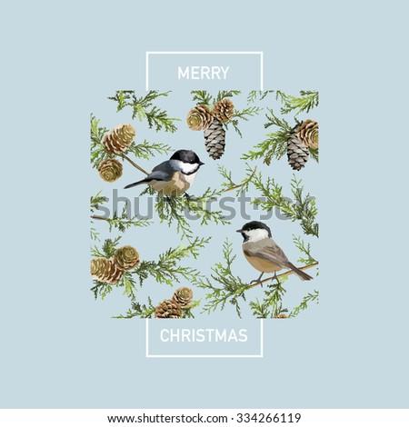 Vintage Christmas Card - Winter Birds in Watercolor Style - vector - stock vector