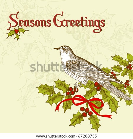 vintage christmas card with a bird - stock vector