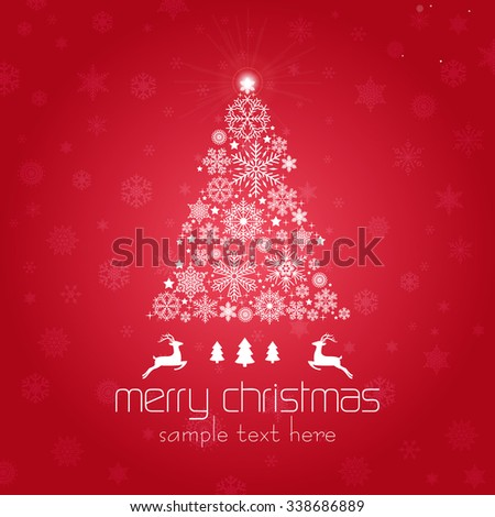 Vintage Christmas card with Christmas Tree / Christmas Tree made of snowflakes isolated  - stock vector