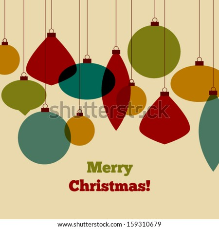 Vintage Christmas card with colorful decorations - stock vector