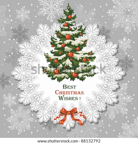 Vintage Christmas card with decorated spruce - stock vector