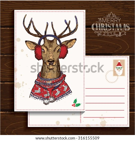 Vintage christmas card with deer. Hand drawn illustration