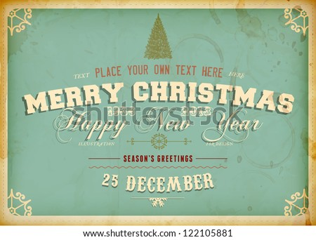 Vintage Christmas Card with engraving tree and grunge background for Xmas invitation design, eps10 illustration - stock vector