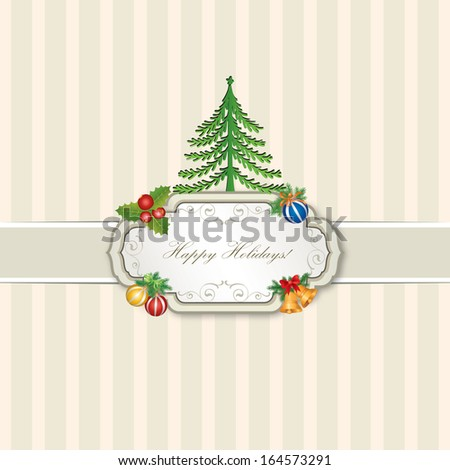 Vintage Christmas card with fir tree, balls and decor on old paper seamless texture, Xmas greeting card with copy space.  - stock vector