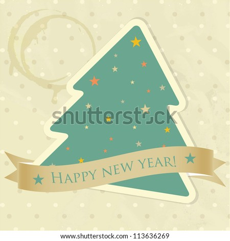 Vintage christmas card with green fie tree and banner for your text - stock vector