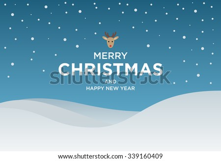 Vintage Christmas card with Greeting text and Reindeer. Vector Christmas illustration - stock vector