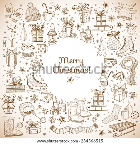 Vintage Christmas card with hand-drawn snowflakes, snowman, lanterns, gift boxes and candles. Vector sketch illustration. Doodle christmas card.  - stock vector