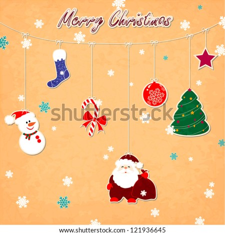 Vintage Christmas card with snowman, snowflakes, Santa Claus - stock vector