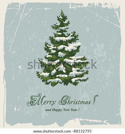 Vintage Christmas card with spruce in the snow - stock vector