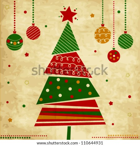 Vintage Christmas card with tree and ornaments, Xmas card - stock vector