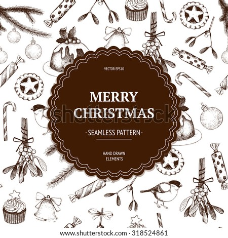 Vintage Christmas decoration.  Vector holiday seamless pattern with ink hand drawn elements. Hand sketched Christmas and New Year illustration. - stock vector