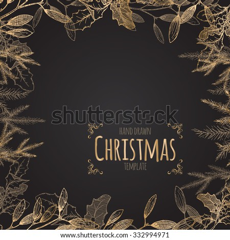 Vintage Christmas decorative template with mistletoe and pine branches on black background. Great for greeting cards and holiday design. - stock vector