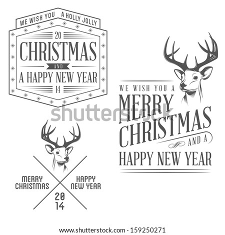 Vintage christmas design elements set - stock vector