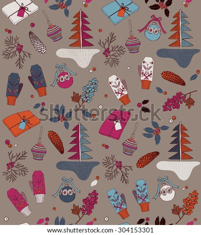 Vintage Christmas elements, gift box, pine cones, mittens and winter berries. Seamless pattern.