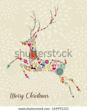 Vintage Christmas elements in jumping reindeer shape over seamless background. EPS10 vector file organized in layers for easy editing. - stock vector