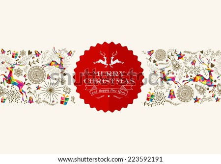 Vintage Christmas elements seamless pattern background with jumping reindeer over retro label. EPS10 vector file organized in layers for easy editing. - stock vector