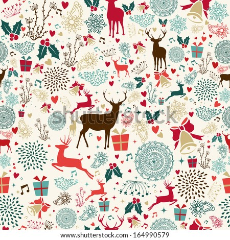 Vintage Christmas elements seamless pattern wrapping background. EPS10 vector file organized in layers for easy editing. - stock vector