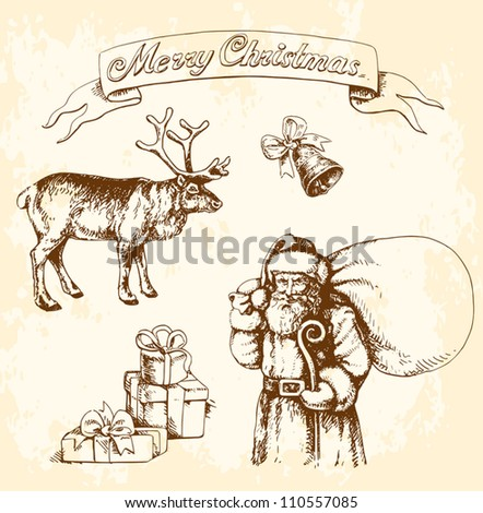 Vintage Christmas elements set - stock vector