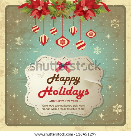 Vintage christmas frame background with poinsettia flowers and baubles - stock vector