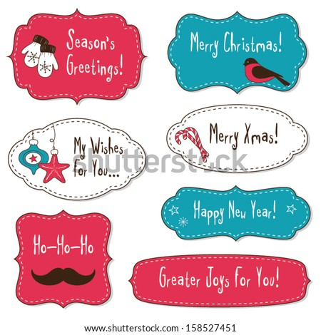 Vintage Christmas Frames - stock vector