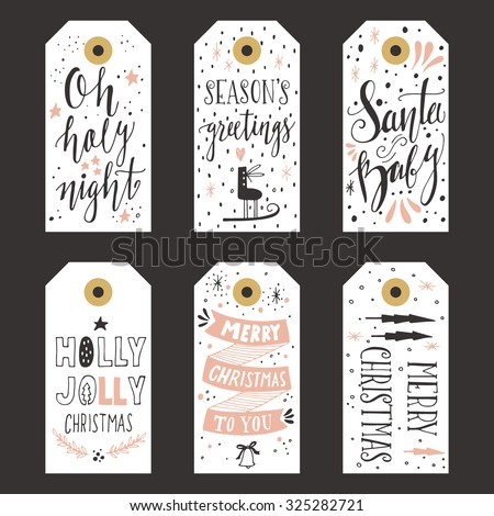Vintage Christmas gift tags - stock vector