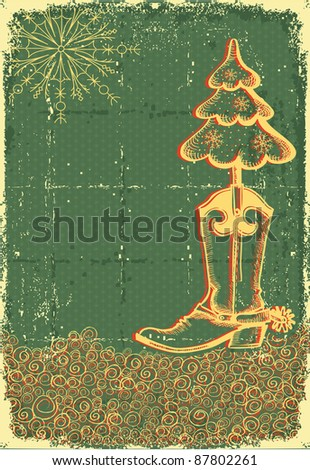 Vintage christmas green card with cowboy boot and fir-tree on old paper texture for text - stock vector