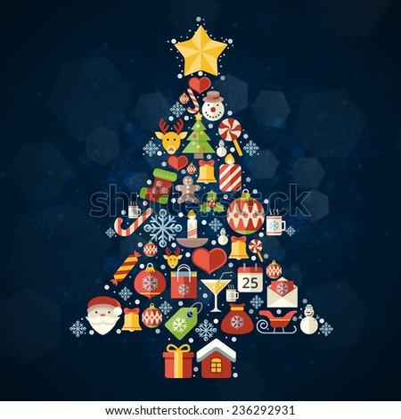 Vintage christmas greeting card, icons and symbols, christmas tree, snowflakes, gift box, santa elements vector background - stock vector