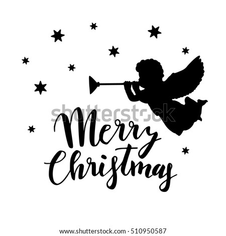 Vintage Christmas Greeting Card Invitation Silhouette Stock Vector