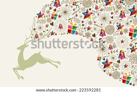 Vintage Christmas greeting card, reindeer and colorful elements composition. EPS10 vector file organized in layers for easy editing. - stock vector