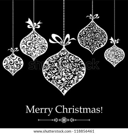 Vintage Christmas Greeting Card. Vector Illustration - stock vector