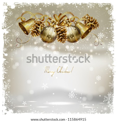 vintage Christmas greeting-card with cones, bells  and baubles - stock vector