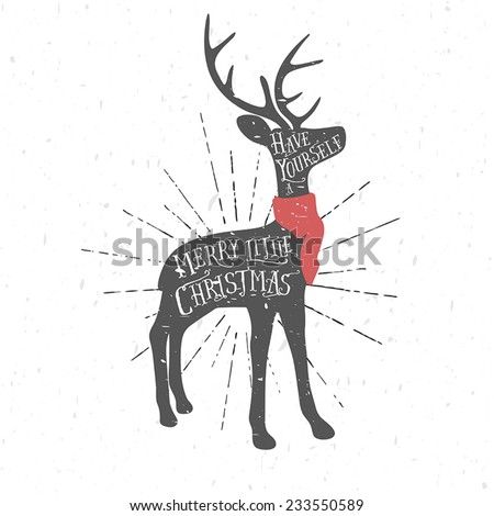 Vintage Christmas greeting card with reindeer. Grunge effect is removable. - stock vector