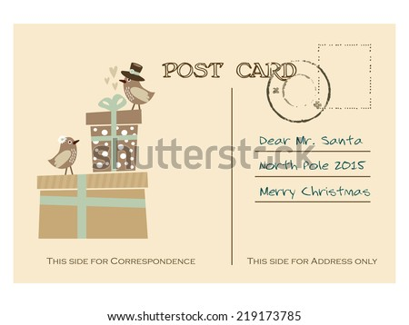 Vintage christmas greeting postcard with gift boxes and birds, hand drawn vector illustration background - stock vector