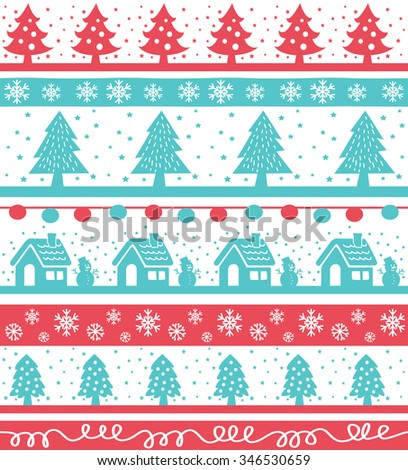 Vintage Christmas holiday seamless background with tree, house, snowman and snowflake - stock vector