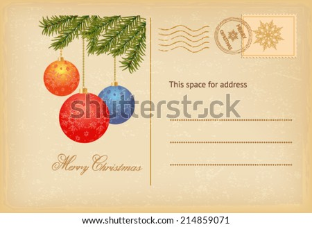 Vintage Christmas invitation  card - stock vector